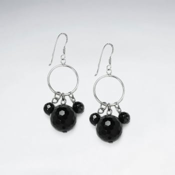 Black Stone Faceted Ball Charms and Silver Hoops Dangle Earrings
