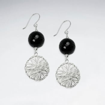 Black Stone Faceted Ball & Elaborate Circle Silver Wirework Dangle Tirered Earrings