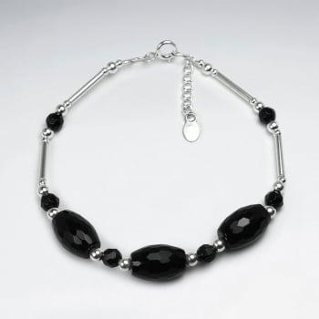 Black Stone Faceted Oval Bead Bracelet