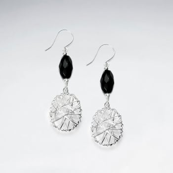 Black Stone Faceted Oval & Ornate Silver Wirework Dangle Tirered Earrings