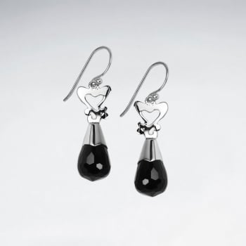 Black Stone Faceted Teardrop & Silver Hearts Dangle Earrings