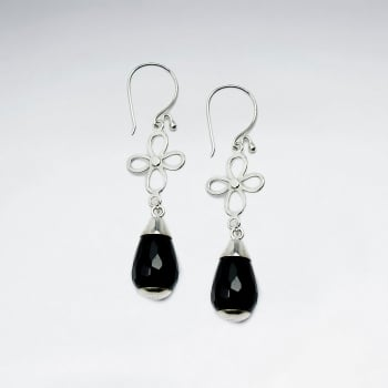 Black Stone Faceted Teardrop & Silver Wirework Flower Earrings