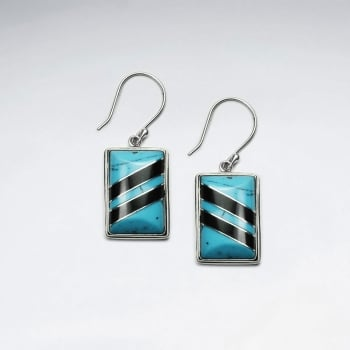 Black Stone & Howlite Striped Rectangle Earrings