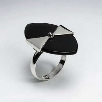 Black Stone Marquise Silver Ring