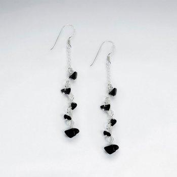 Black Stone Nugget Cascade Silver Earring