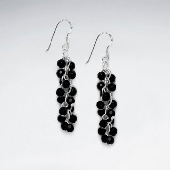 Black Stone Nugget Cluster Dangling Earring