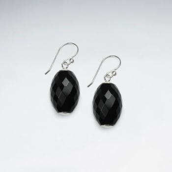 Black Stone Oval Faceted Dangle Earrings