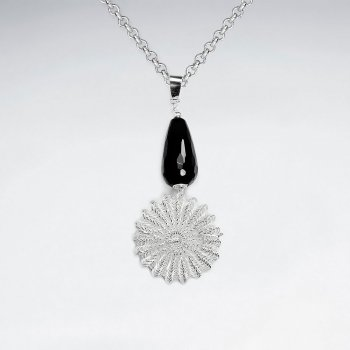 Black Stone Pendant With Silve Dangling Wirework