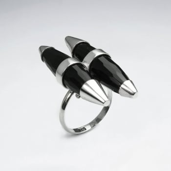 Black Stone Sterling Silver Bullet Accent Ring