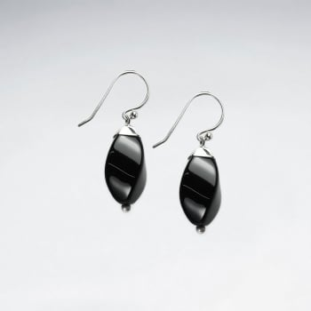 Black Stone Suave Silhouette Dangle Hook Earrings