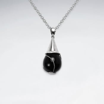 Black Stone Teardrop Swirls Sterling Silver Capped Pendant