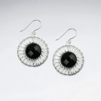 Black Stone & Wirework Circle Earrings