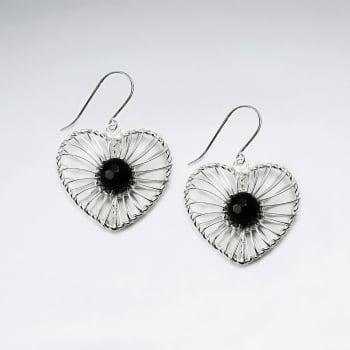 Black Stone Wirework Heart Earrings