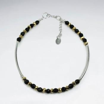 Black Stone Wrap Pattern Sterling Silver Bead Bracelet
