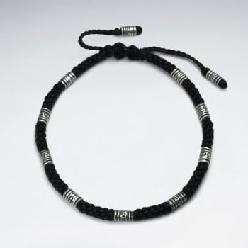 Black Wax Cotton and Etched Bead Bracelet