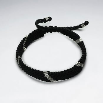 Black Wax Cotton and Silver Beaded Bracelet