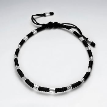 Black Wax Cotton and Silver Spacer Bead Bracelet