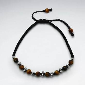 Black Wax Cotton Tiger Eye and Silver Bead Bracelet