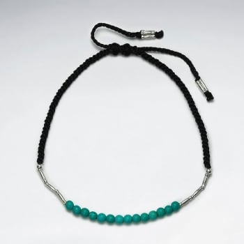 Black Wax Cotton Turquoise and Silver Link Accent Bracelet