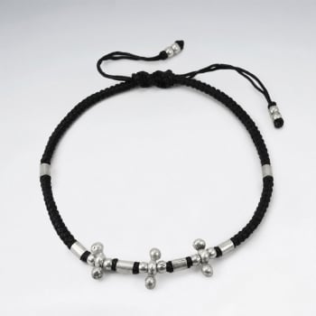 Black Waxed Corded Silver Ball Spike Studded Bead Bracelet