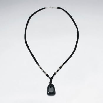 Black Waxed Cotton African Jade Pendant Necklace