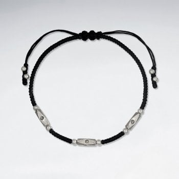 Black Waxed Cotton and Silver Bracelet