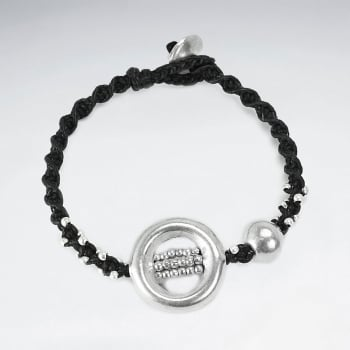 Black Waxed Cotton Circle Ball  Bracelet