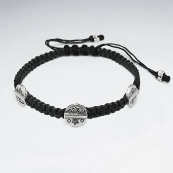 Black Waxed Cotton Circle Charm Twist Bracelet