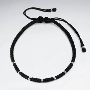 Black Waxed Cotton Corded Bead Strung Bracelet