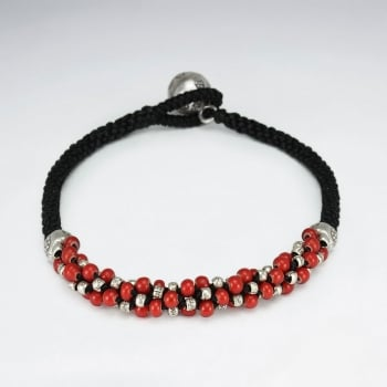 Black Waxed Cotton Corded Bracelet With Red Bead Accents