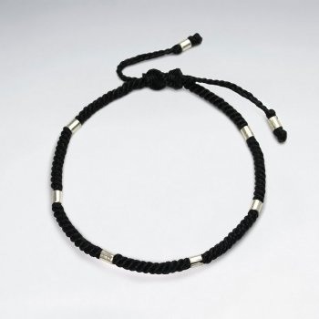 Black Waxed Cotton Cuff Sudded Bracelet