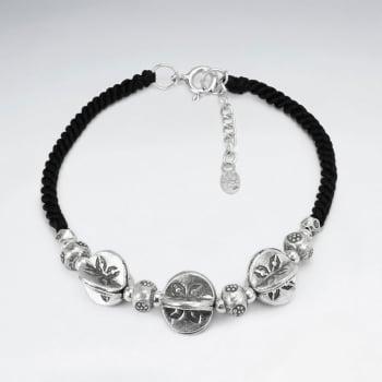 Black Waxed Cotton Dimensional Triple Charm Bracelet