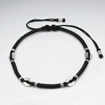 Black Waxed Cotton Disc Studded Charm Bracelet