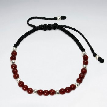 Black Waxed Cotton  Eloquent Carnelian Stone Bracelet