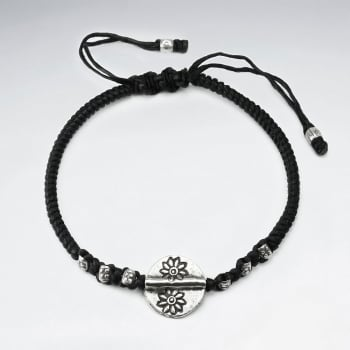 Black Waxed Cotton Flower Circle Bead Bracelet