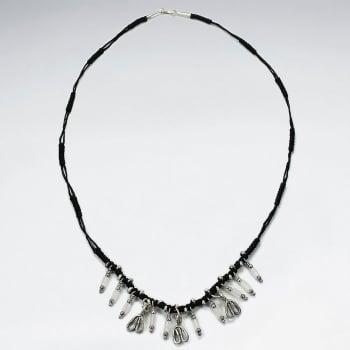 Black Waxed Cotton Fringe Charm Necklace