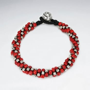 Black Waxed Cotton & Full Red Bead Twist Accent Bracelet