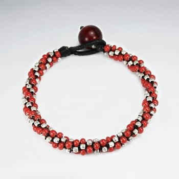 Black Waxed Cotton & Full Red Bead Twist Wrap Bracelet