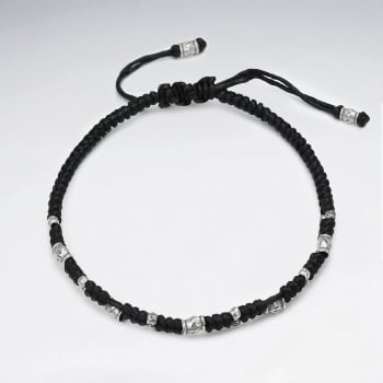 Black Waxed Cotton Half Bead Bracelet