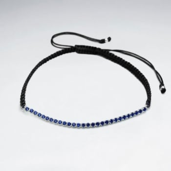 Black Waxed Cotton Half Blue CZ Lined Bracelet
