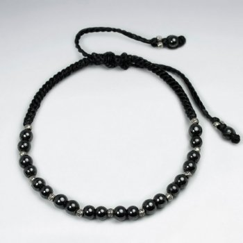 Black Waxed Cotton  Hematite Earth Stone Bracelet
