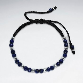 Black Waxed Cotton Lapis Lazuli Bead Bracelet