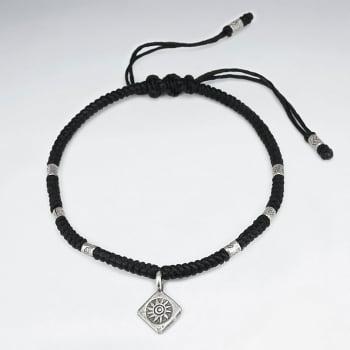 Black Waxed Cotton Marquis Sun Charm Bracelet