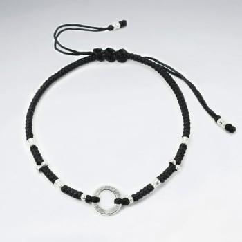 Black Waxed Cotton Open Circle Charm & Bead Bracelet