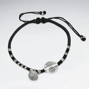 Black Waxed Cotton Open Shell and Flower Charm Twist Bracelet