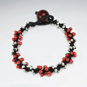 Black Waxed Cotton & Red Bead Cluster Bracelet