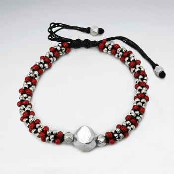 Black Waxed Cotton Red & Silver Bead  Motif Bracelet