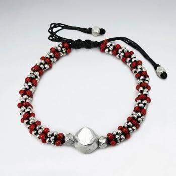 Black Waxed Cotton Red & Silver Bead  Motif Bracelet