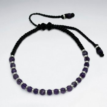 Black Waxed Cotton  Revered Amethyst Stone Bracelet