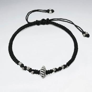 Black Waxed Cotton Ribbed Bracelet
